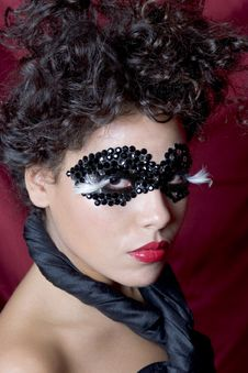 Free Attractive Young Woman Wearing A Black Gem Mask Royalty Free Stock Image - 804776