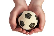 Free Hand Hold Soccer Ball Royalty Free Stock Images - 805429
