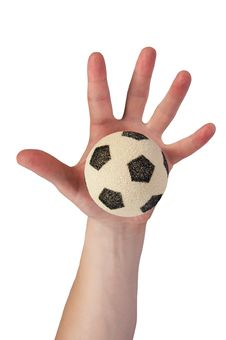 Free Hand Hold Soccer Ball Stock Image - 805431