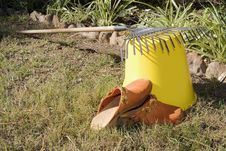Free Rake Resting On A Bucket Stock Photos - 807013