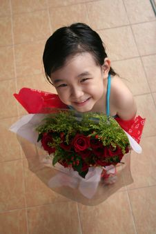 Free Girl Holding Bouquet Of Red Roses Stock Photos - 807543