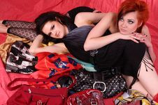 Free Two Models In Colorful Setting In The Studio Royalty Free Stock Photo - 8000615