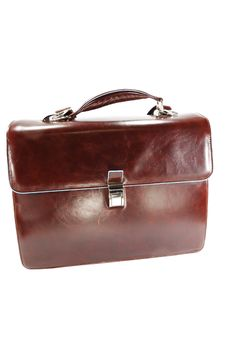 Free Leather Briefcase Isolated On White Background Stock Image - 8001221