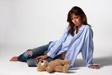 Free Girl With A Teddy Bear Stock Image - 8001571