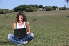 Free Young Woman With Laptop Stock Photo - 8002060