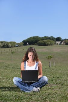 Free Young Woman With Laptop Royalty Free Stock Photo - 8002075