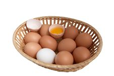 Free Chicken Eggs In The Brown Basket. Royalty Free Stock Image - 8003886
