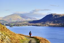 Free Female Hiker Above Derwent Water Royalty Free Stock Images - 8004439