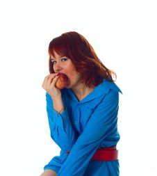 Healthy Woman Bite Apple Stock Photography