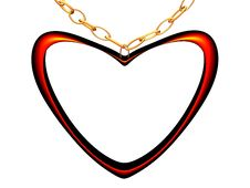Medallion On A Chain In The Form Of Red Heart. Royalty Free Stock Photos