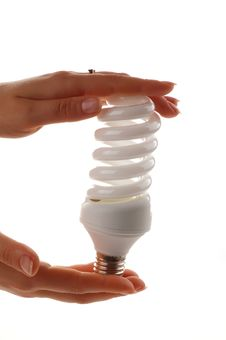 Energy Saver Lamp In The Hands On White Background Royalty Free Stock Photos