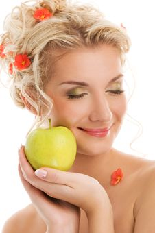 Free Woman With Ripe Green Apple Stock Image - 8006481