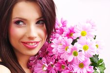 Free Portrait Of A Woman With Flowers Royalty Free Stock Photography - 8007757