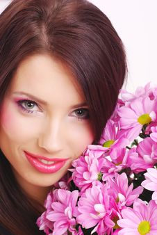 Free Portrait Of A Woman With Flowers Stock Photography - 8007802