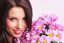 Free Portrait Of A Woman With Flowers Royalty Free Stock Photography - 8007987