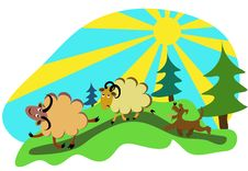 Cartoon Sheep With A Sheepdog In The Forest Vector Royalty Free Stock Photo