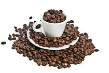 Free Cup Of Coffee, Full Of Beans Royalty Free Stock Photo - 8008225