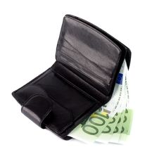 Free Euro And A Leather Purse Stock Image - 8008311