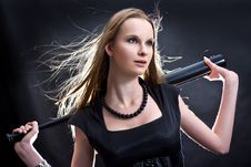 Fashion Girl With The Baseball Bat Royalty Free Stock Photo
