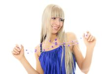 Free Young Blond Woman Wearing Beads Stock Image - 8008941
