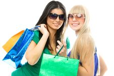 Free Beautiful Girls With Shopping Bags Royalty Free Stock Images - 8008969