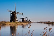 Free Beautiful Windmill Landscape At Kinderdijk Stock Photography - 8010012