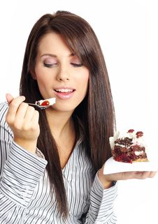 Free Businesswoman  Eating The Cake. Royalty Free Stock Images - 8011089