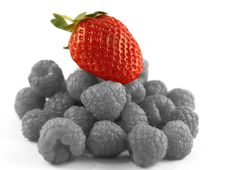 Free Red Strawberry On A Bed Of Raspberries Stock Photo - 8011110