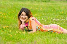 Free Beautiful Woman Lies On A Grass Stock Image - 8011921
