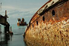Free Rusty Wrecks In The Sun Royalty Free Stock Image - 8013166