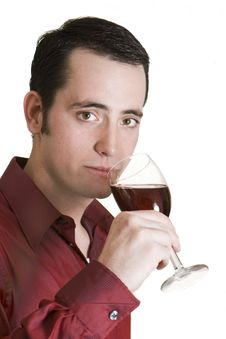 Free Young Man Tasting Red Wine Stock Images - 8014004