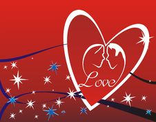 Free Couples Silhouette In Heart Stock Photography - 8014352
