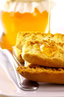 Free Toasts With Honey Stock Photography - 8015872