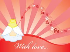 Free Wallpaper With Angel And Hearts Stock Photography - 8017582