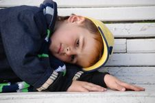 Free Boy On A Bench Royalty Free Stock Photos - 8017618