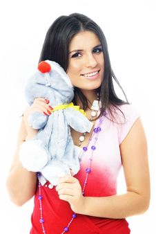 Free Beautiful Brunette Girl Embracing A Toy Mouse Royalty Free Stock Photo - 8017905