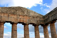 Greek Temple Detail & Sky Royalty Free Stock Image