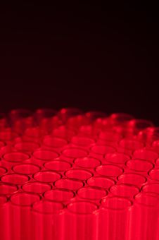 Close-up Of Empty Test Tubes In Red Royalty Free Stock Photos