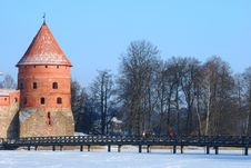 Free Medieval Castle In The Middle Of Frozen Lake Stock Image - 8018501