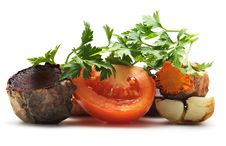 Grilled Vegetables, Parsley, Tomato Stock Image