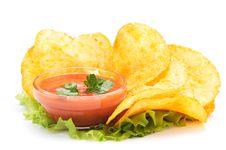 Free Potato Chips And Ketchup Stock Photo - 8019400