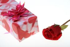 Free Gift And Rose Royalty Free Stock Images - 8019589