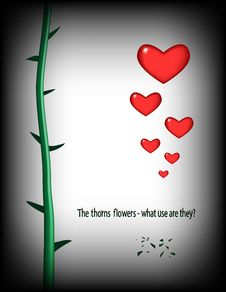 Free Stalk Of A Rose With Prickles And Red Hearts Royalty Free Stock Images - 8019749