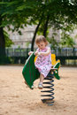Free Small Thoughtful Beauty Girl On Swing. Royalty Free Stock Images - 8026829