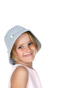 Free Cute Young Girl Wearing Blue Hat And Smiling Royalty Free Stock Photos - 8020078