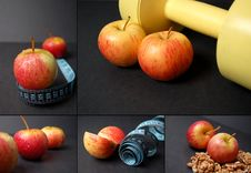 Free Montage Of Dieting Concepts - Apples Stock Photography - 8021842