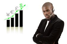 Free Business Support Man With Rising Graph Royalty Free Stock Images - 8021849