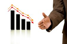 Business Handshake With Falling Graph Stock Photo