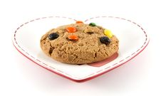 Free Cookie On Heart Shaped Plate Royalty Free Stock Photo - 8022005