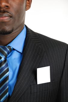 Business Man With Business Card In The Pocket Royalty Free Stock Photo